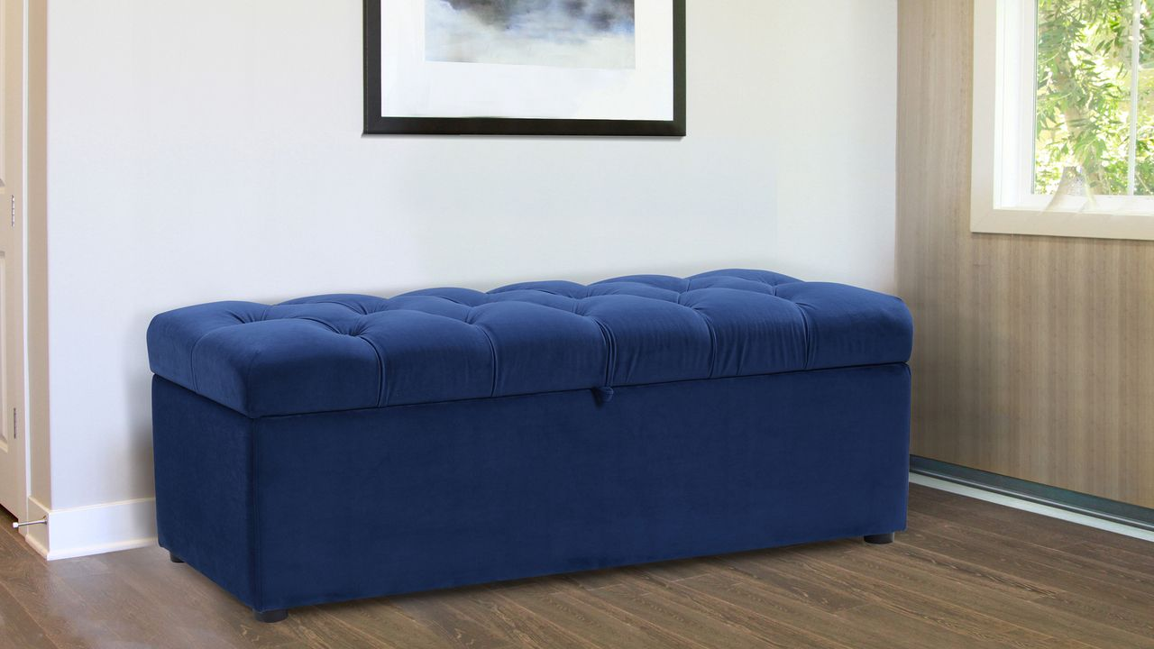 Incredible Arlo Tufted Storage Bench Navy Blue Storage Solutions Gamerscity Chair Design For Home Gamerscityorg
