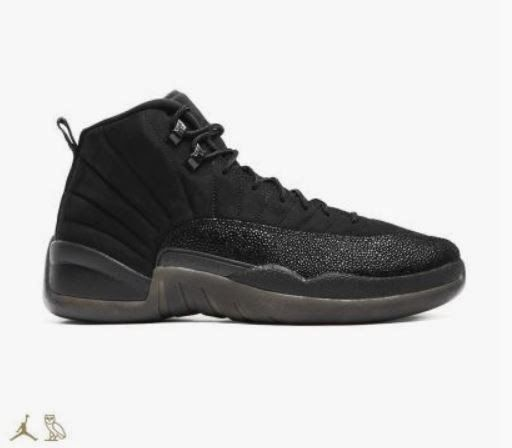 THE SNEAKER ADDICT: Air Jordan 12 Drake OVO Black Stingray XII Retro  Sneaker (Official