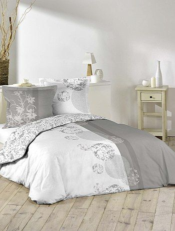 parure de lit imprim e fantaisie blanc linge de lit. Black Bedroom Furniture Sets. Home Design Ideas