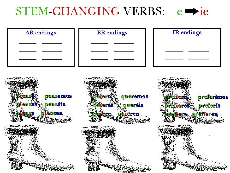 The Boot Verbs Pensar Querer Preferir Cheat Sheets For Spanish