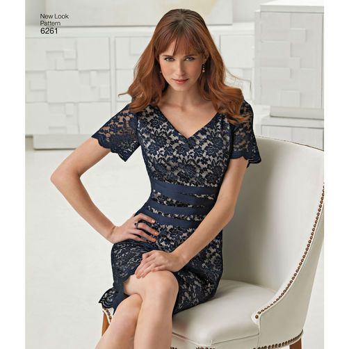 New Look Pattern 6261 Misses  Dress with Neckline Variations  d26d45b93