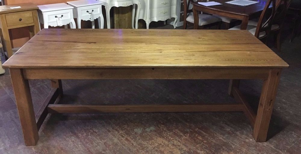 7 Foot Farmhouse Dining Table Banquet Pitch Pine Solid