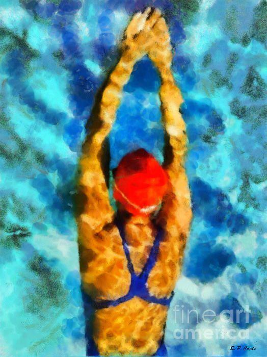 Swimmer Water Art Art Lake Art