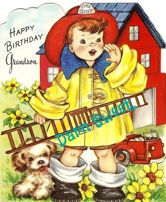 Vintage Greeting Card 1950s Vintage Fireman By Darnsweet On Etsy 2 00 Grandson Birthday Cards Vintage Birthday Cards Happy Birthday Grandson