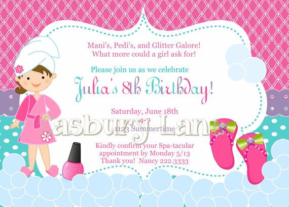 Hey I found this really awesome Etsy listing at httpsetsy – Printable Spa Party Invitations