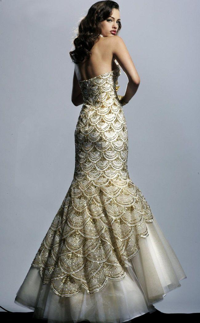 beautiful gold mermaid wedding dress   vintage inspired wedding ...