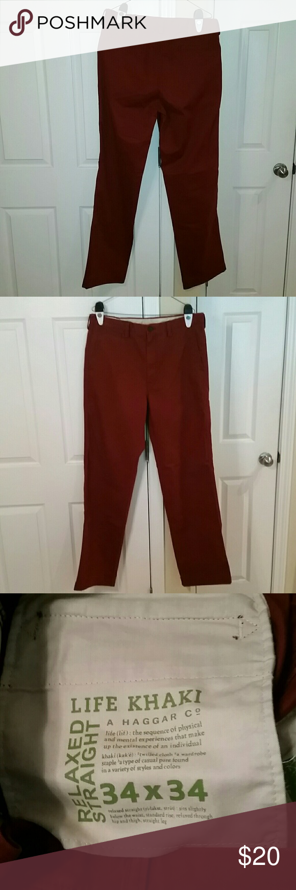 Life Khaki by Haggar Co. Relaxed Straight Khakis A pair of Life Khaki by Haggar Co. Relaxed Straight Khakis. Size 34x34. New and never worn, no tags. Color is rustic (red or burgundy, see last picture for color). Please email me if interested. Thanks! Life Khaki by Haggar Co. Pants Chinos & Khakis