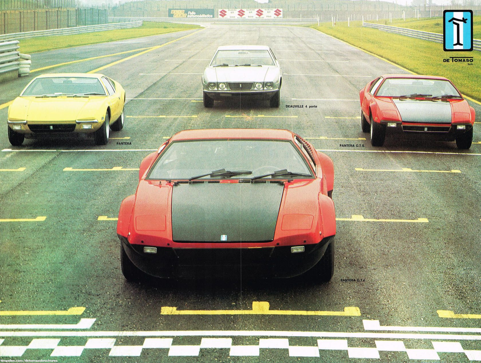1973 Detomaso Line Up Showing The Pantera From The Left L Gr 4 And Gts And The Deauville Sedan On The Background