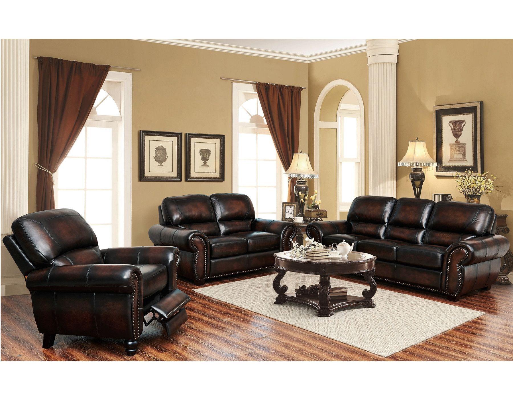 Top Grain Genuine Leather- The El Dorado Living Room Set