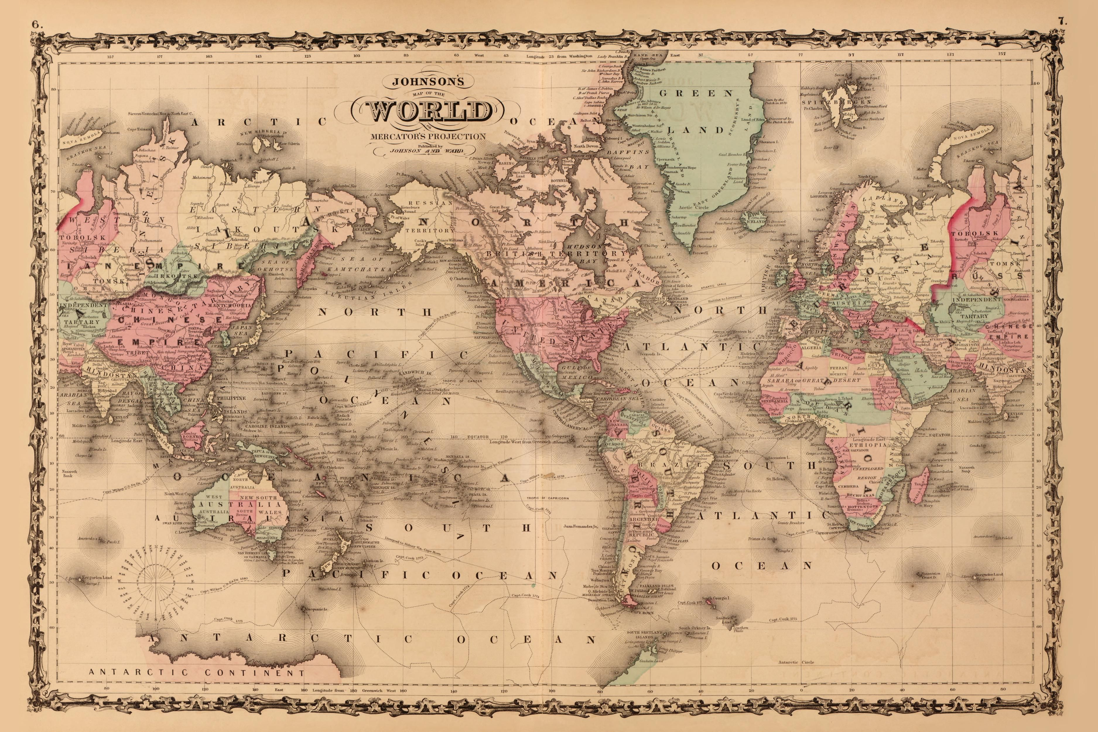Boston public schools map switch aims to amend 500 years of distortion vintage johnsons map of the world mercator projection depicts greenland and africa gumiabroncs Images