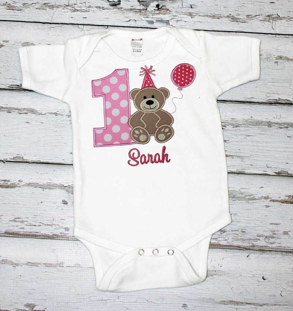 Girls Birthday Shirt,Teddy Bear Birthday Shirt,First