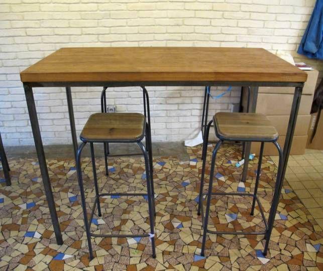 Ensemble Table Haute Rectangulaire Style Industriel Metal Et Bois