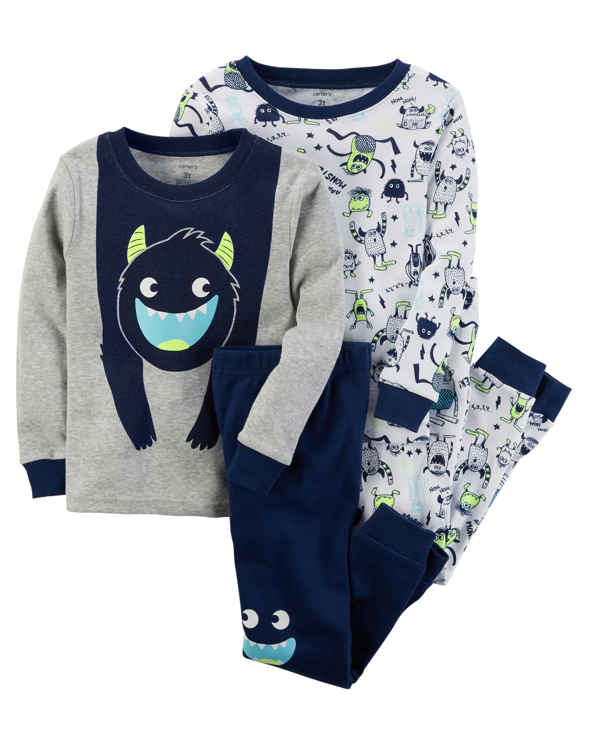 e75ae60b7c69 xh17 Kid Boy 4-Piece Glow-In-The-Dark Snug Fit Cotton PJs from ...