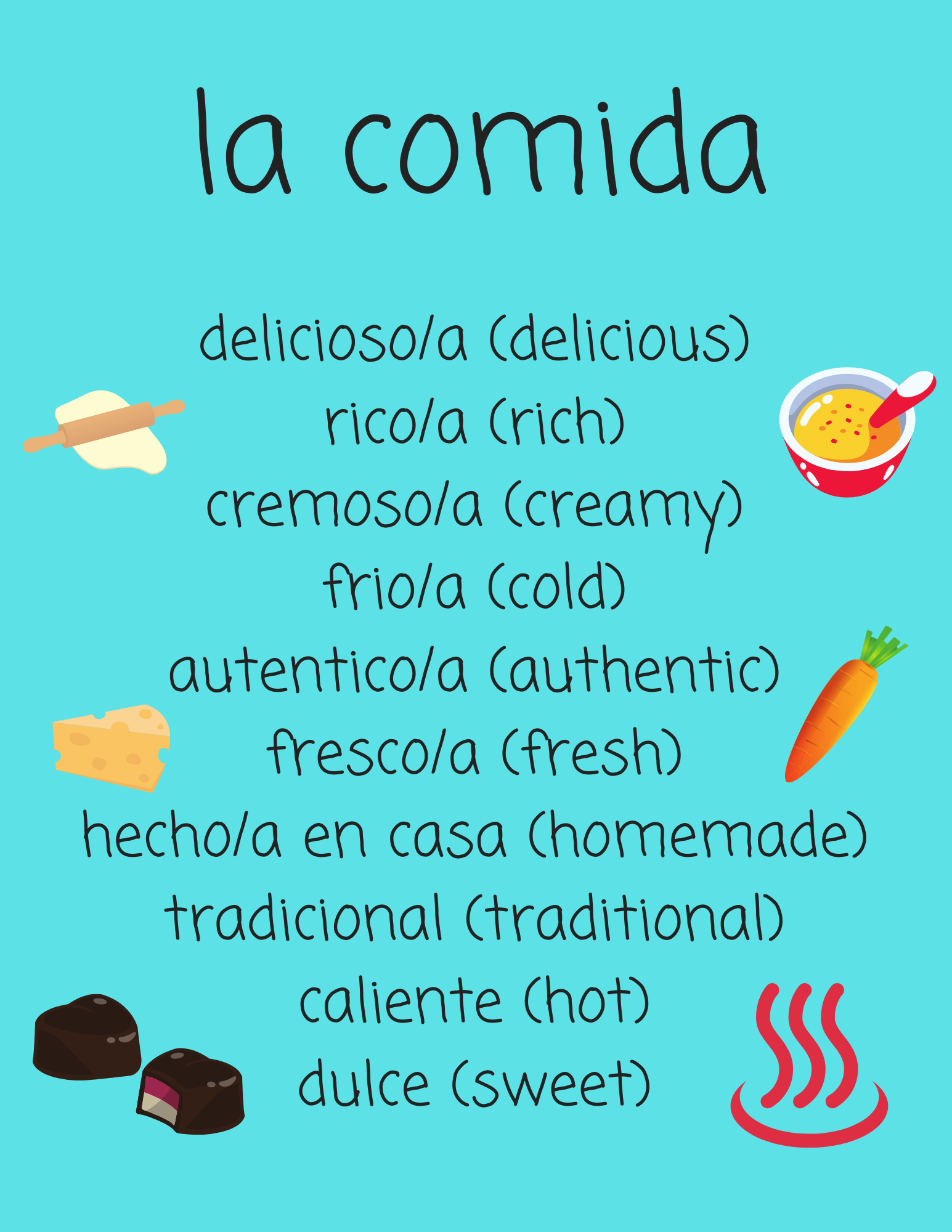 Food Adjectives In Spanish For Spanish 1