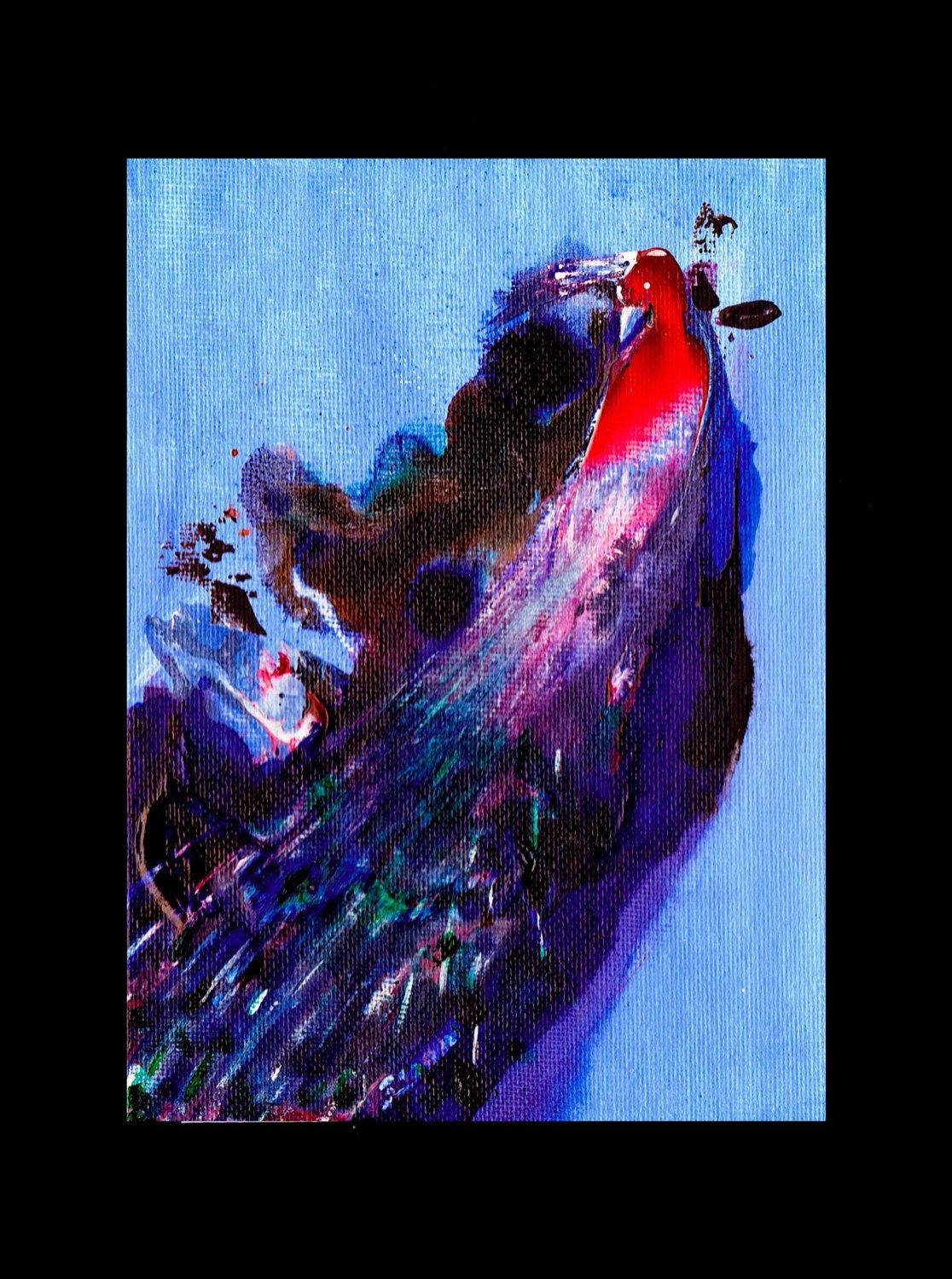 Abstract peacock colourful original acrylic painting modern wall