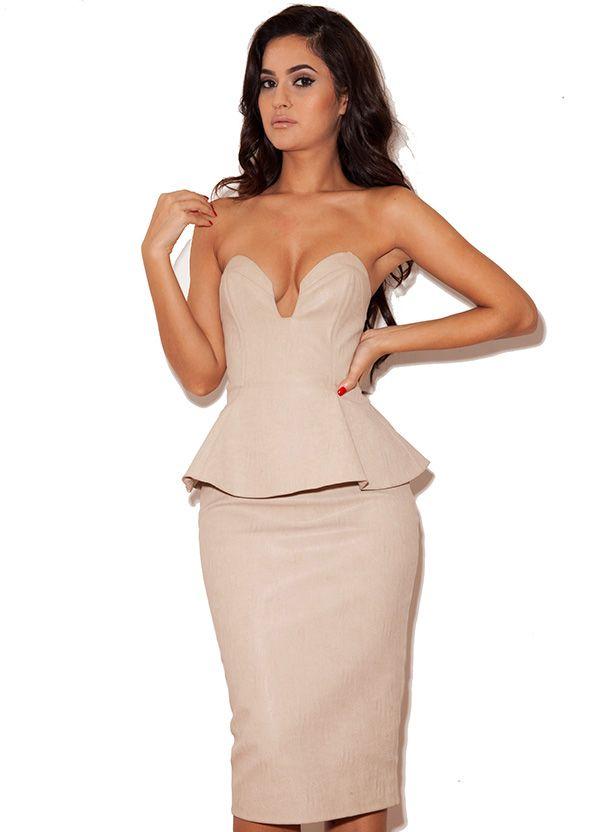 'Amisha' Nude Leatherette Peplum Pencil Dress - SALE