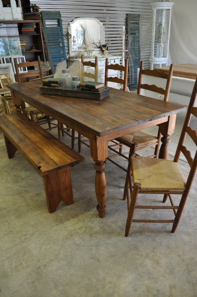 CUSTOM BUILT 1800s Reclaimed Heart Pine Farmhouse Harvest Table.