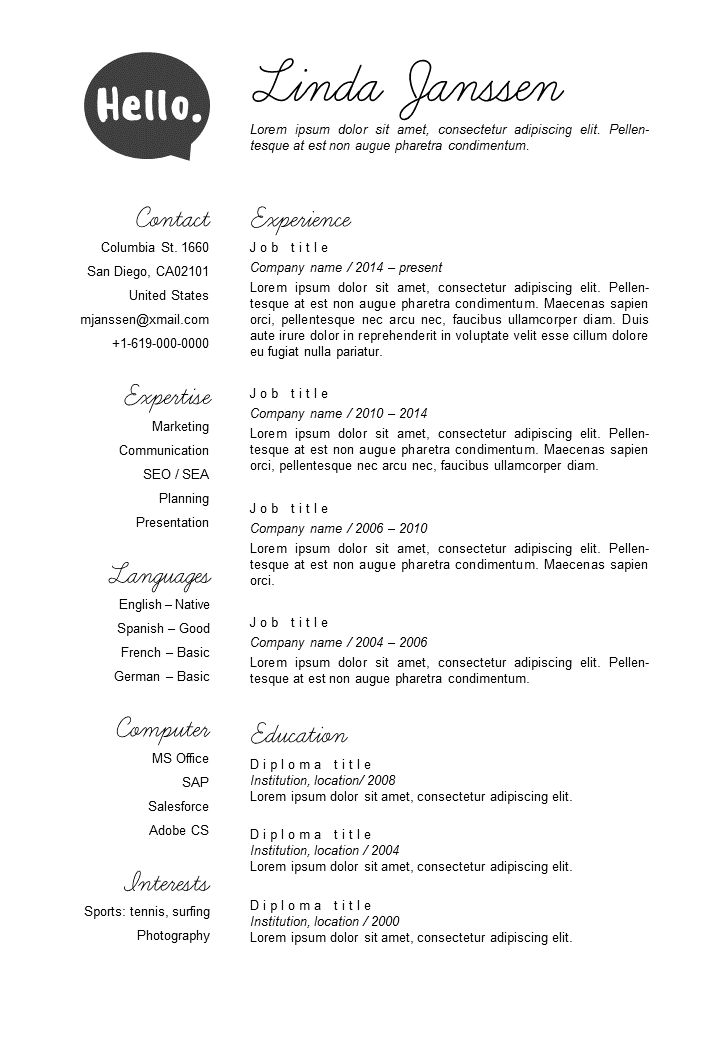 Resume Template In Word  Color Versions In  Incl Nd Page