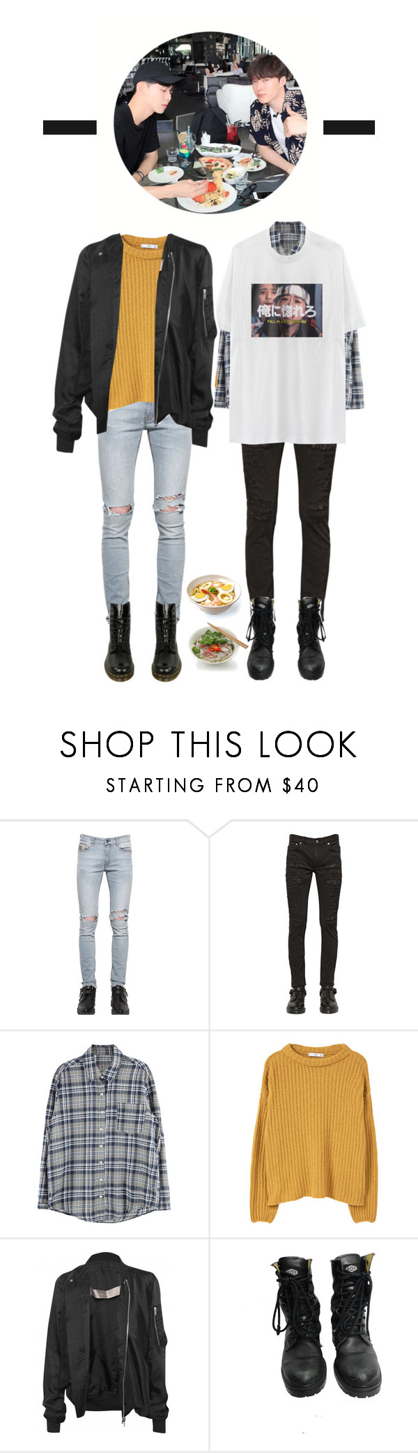 """{ Insik & AM } Going out to eat"" by hi4-official ❤ liked on Polyvore featuring April 77, BLK DNM, MANGO, VFiles, Rick Owens, BOY London, Dr. Martens, men's fashion and menswear"
