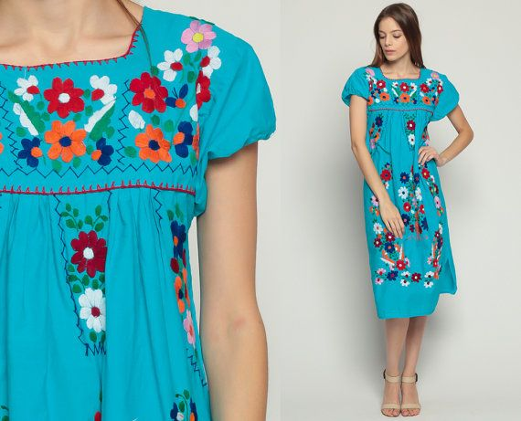 65b10170ed8c Mexican Dress Embroidered Midi PUFF SLEEVE Boho Cotton Tunic Hippie Floral  Ethnic 80s Bohemian Vintage Turquoise Blue Small