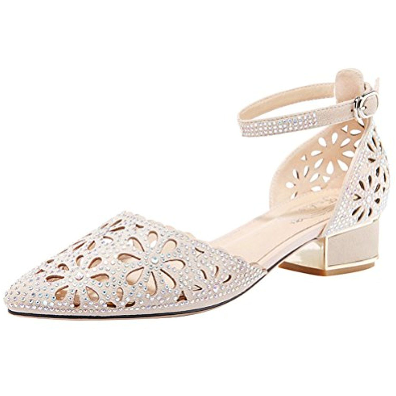 4cf5844b3be Womens Comfort Pointed Toe Cutout Hollow Out Rhinestones Ankle Strap Low  Heel Pumps     More info could be found at the image url.