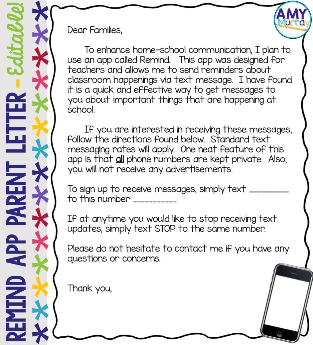 Remind App Parent Letter Editable Template Pinterest Letter - Parent letter template