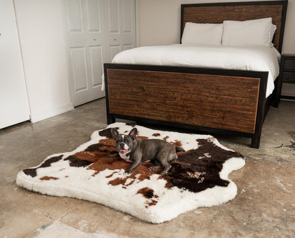 PupRug™ Animal Print Memory Foam Dog Bed Brown Faux
