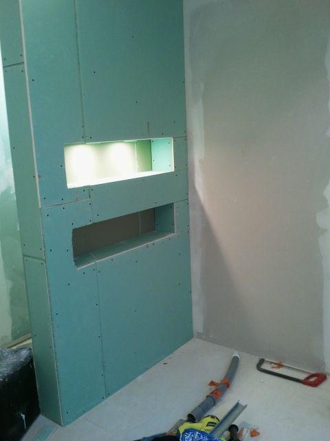 cloison placo niche salle de bain zen