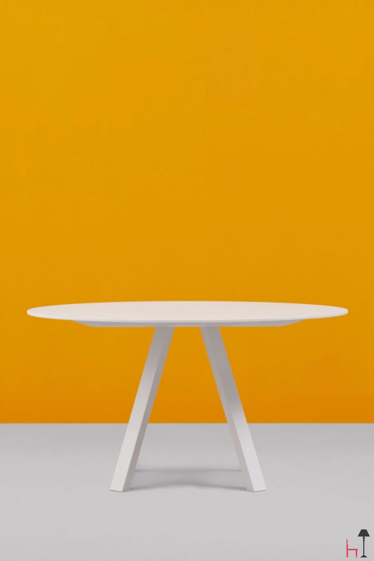The Round Arki Table Is Composed Of An Extra Thin Top, With Steel Trestle  Legs And An Aluminium Support. Its Linear, Neat Design Will Suit Any Decor  Style,.