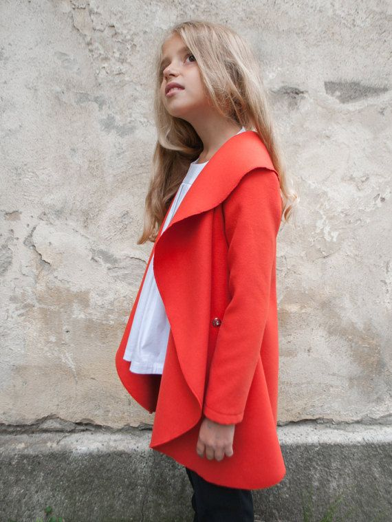 954791fefec7 Girls shawl collar coat High neck wool coat High collar girls coat ...