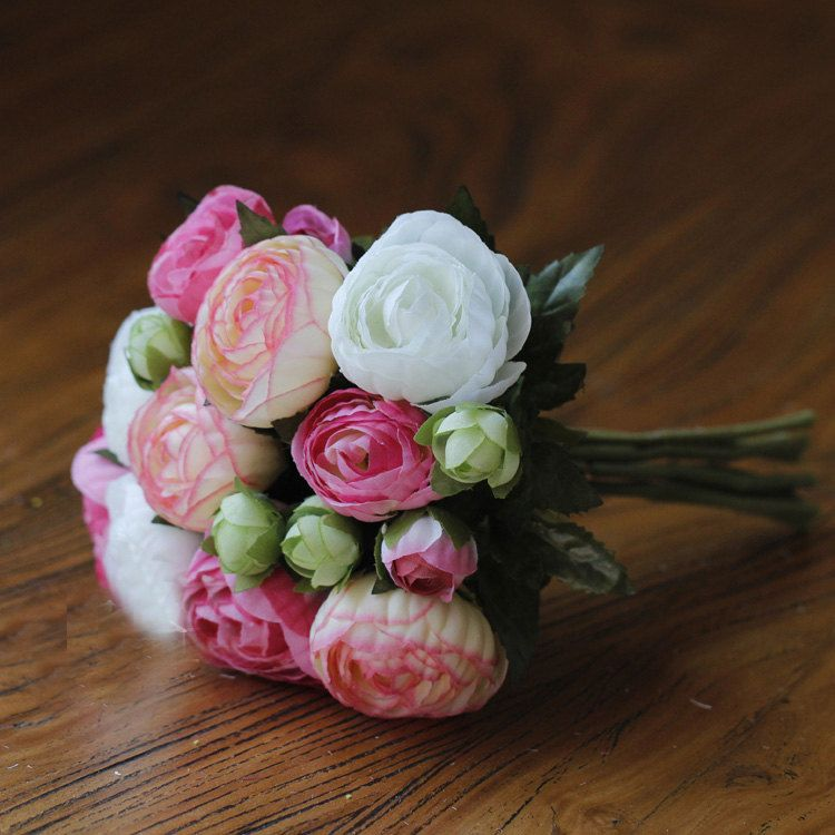 Pink Blush Peonies Bridesmaid Artificial Flower Bouquet Bunch (10/bunch) by sophieliu2 on Etsy