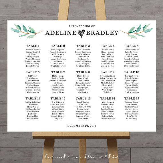 Wedding Seating Chart Large Poster Table Seat Assignment Etsy Seating Chart Wedding Reception Seating Reception Seating Chart