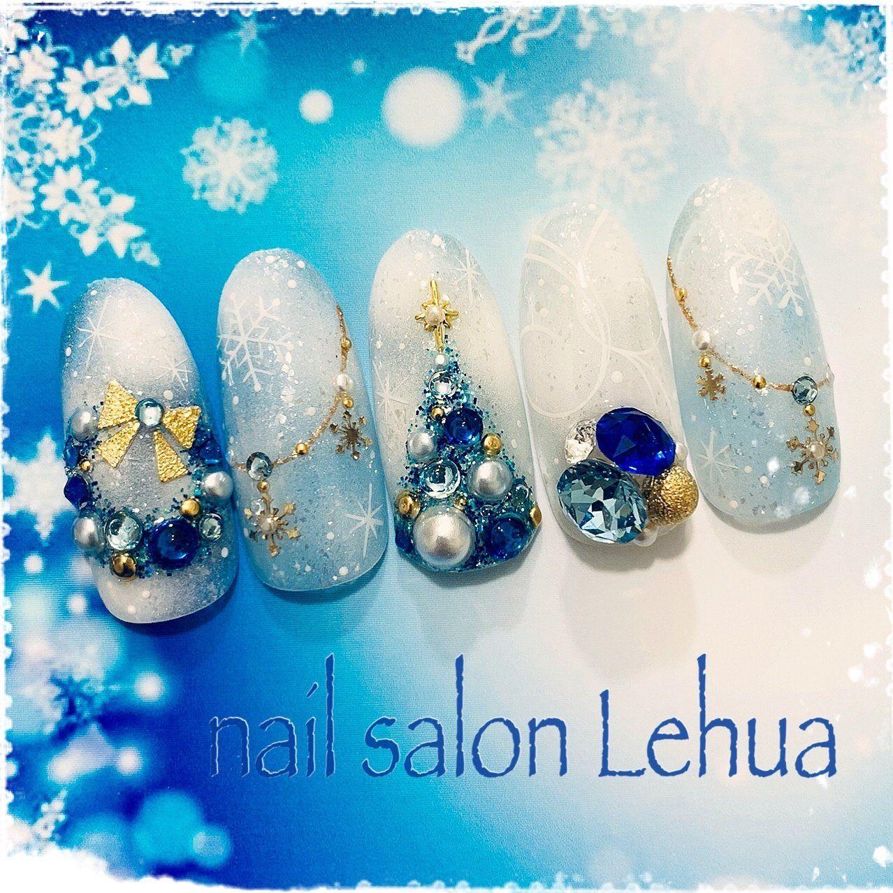 冬/クリスマス/雪の結晶/ミラー/水色 , Lehua(レフア)大木萌子の