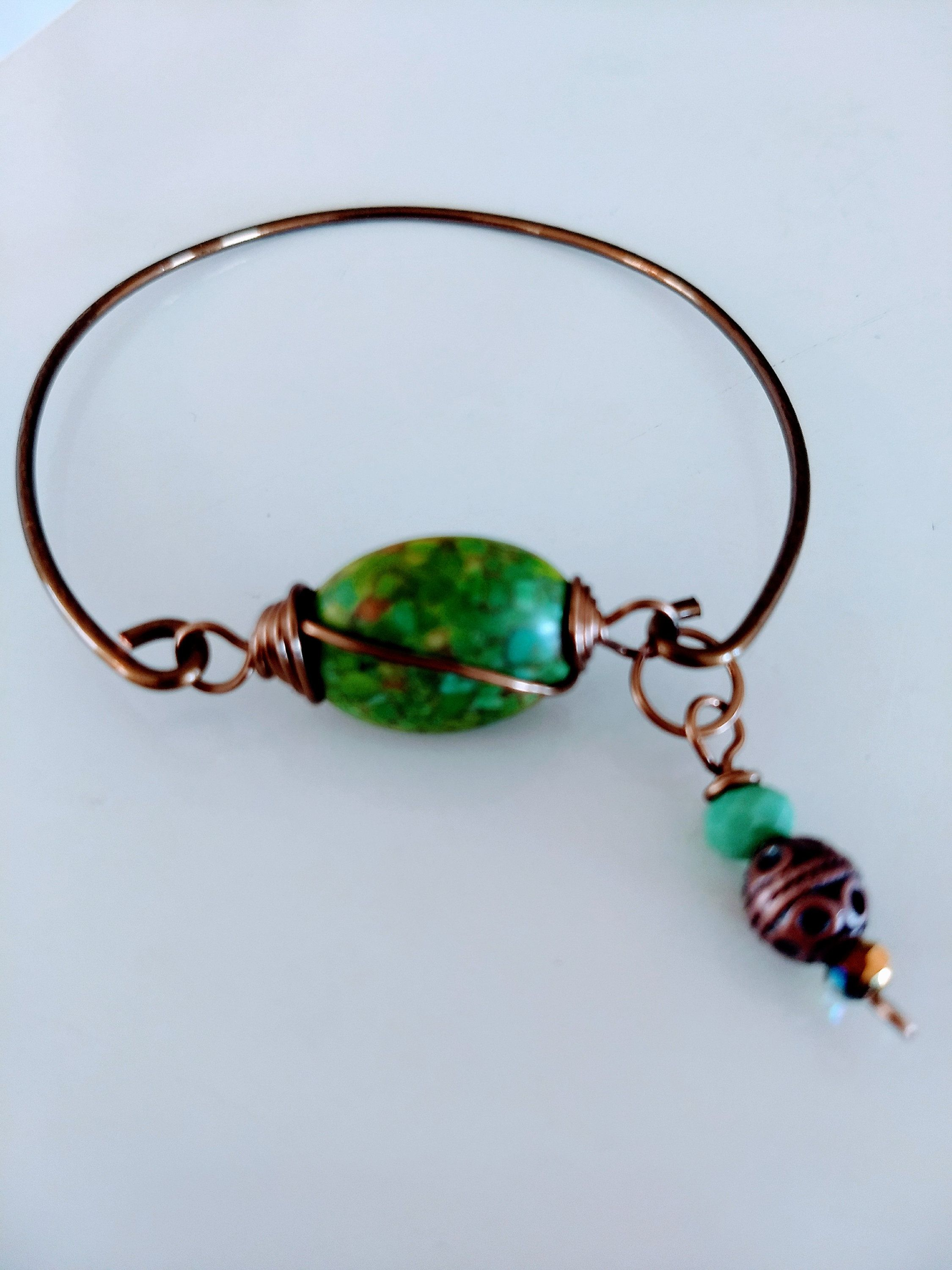Turquoise Wire Wrapped Charm Copper Bangle Bracelet | ✽ Support ...