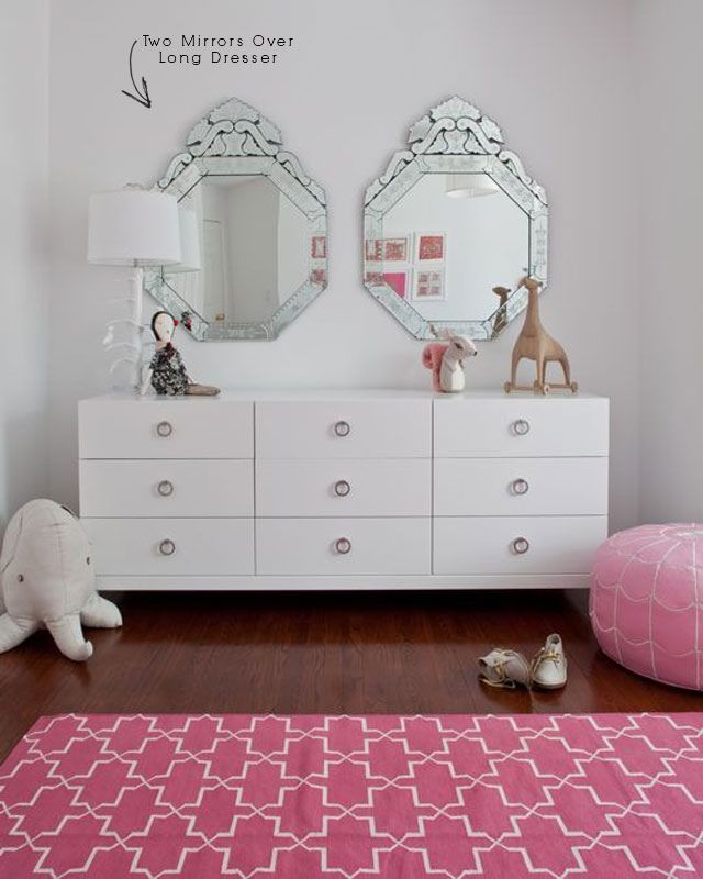 Chic S Room Design With Venetian Mirrors Glossy White Lacquer Dresser Brushed Nickel Ring Pulls Hardware Pink Leather Moroccan Pouf