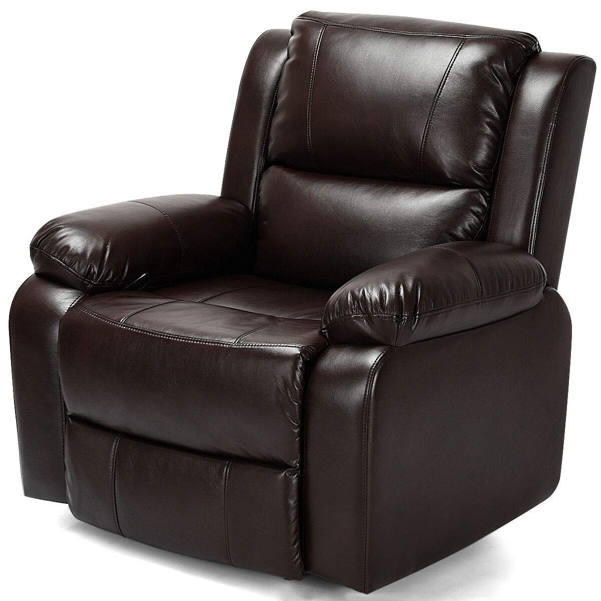 Manual Recliner Chair Lounge Sofa Pu Leather Padded Home Theater Reclining Brown Manual Recliner Chair Lift Chair Recliners Recliner Chair