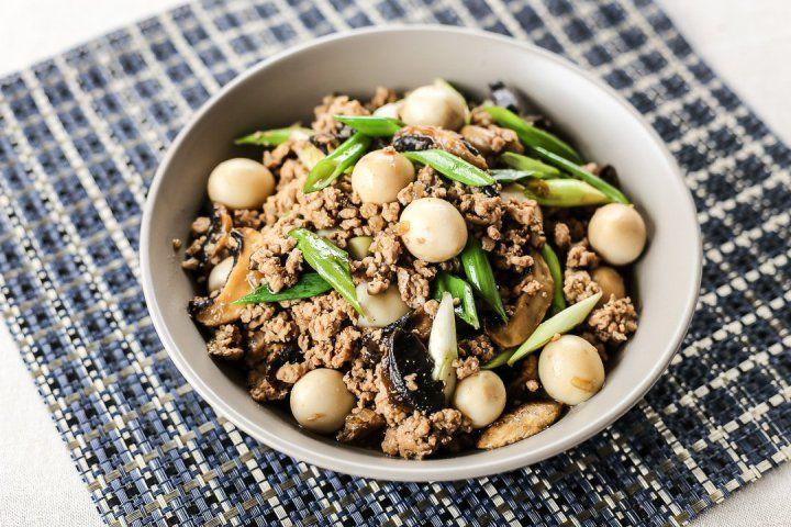 Asadong pork giniling with quail egg and mushroom recipe