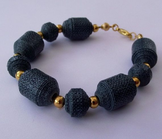 Teal and gold bracelet with paper beads ♥ by AstridsJewelGarden, £8.50