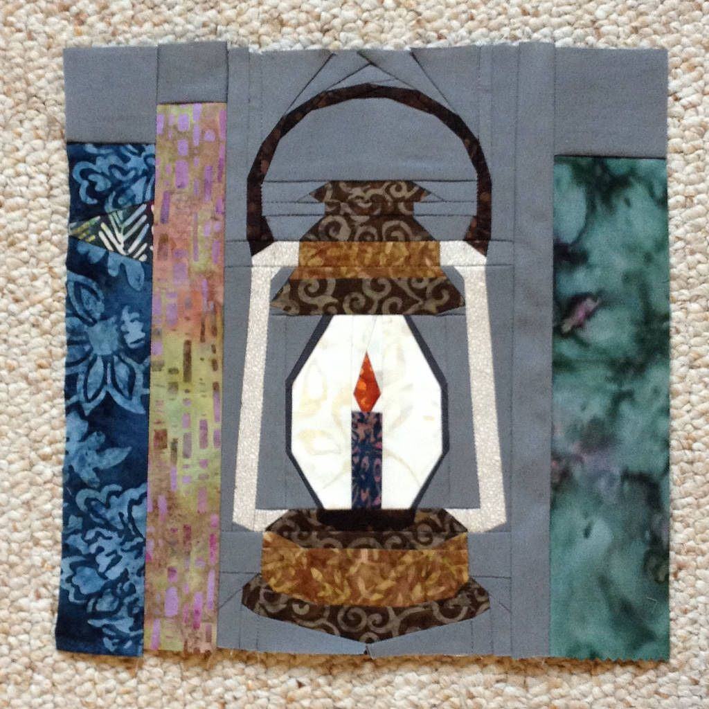 Lantern block for Project of Doom, Harry Potter bookcase quilt