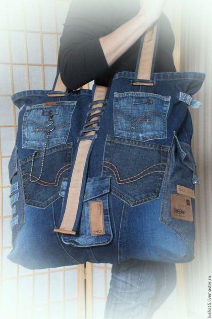 0df5a80420b0 Женские сумки ручной работы. Ярмарка Мастеров - ручная работа. Купить Сумка- баул из джинсы. Handmade. Синий, сумка большая