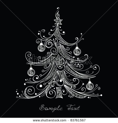 Stock vector black and white christmas tree vector illustration