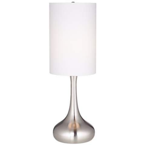 Brushed Nickel Droplet Table Lamp With Cylinder Shade V4325 Lamps Plus Table Lamp Lamp Modern Table Lamp