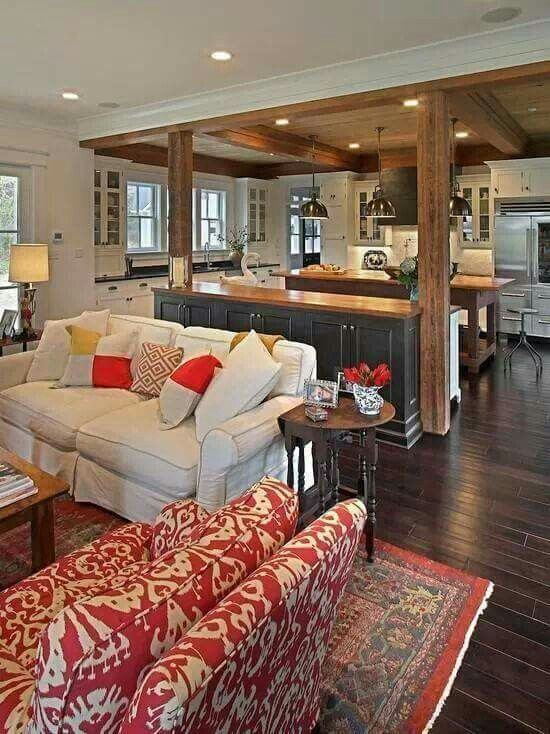 Great Setup Craftsman Living Rooms Living Room And Kitchen