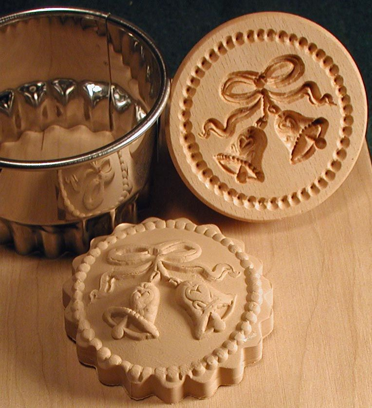 Christmas cookie stamps hand carved by woodcarver gene