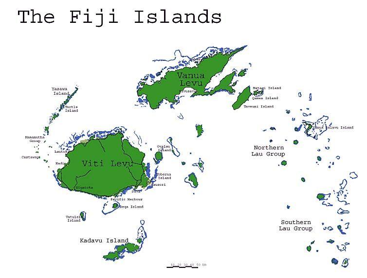 Map Of The Fijian Islands Fiji Pinterest Fiji Dive Resort - Fiji islands map