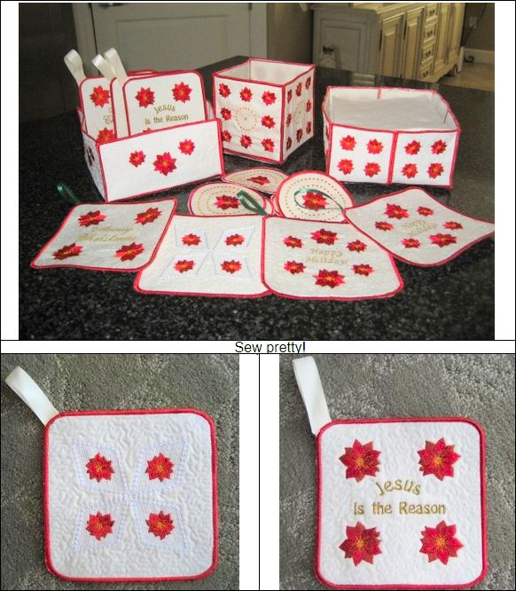 """Pretty Poinsettias Accessories"" create a coaster box, coasters, a napkin tray in 2 versions, and even potholders! What a great way to add to your holiday decor! Instructions are included!  #poinsettiamachineembroiderydesign #holidayembroidery"