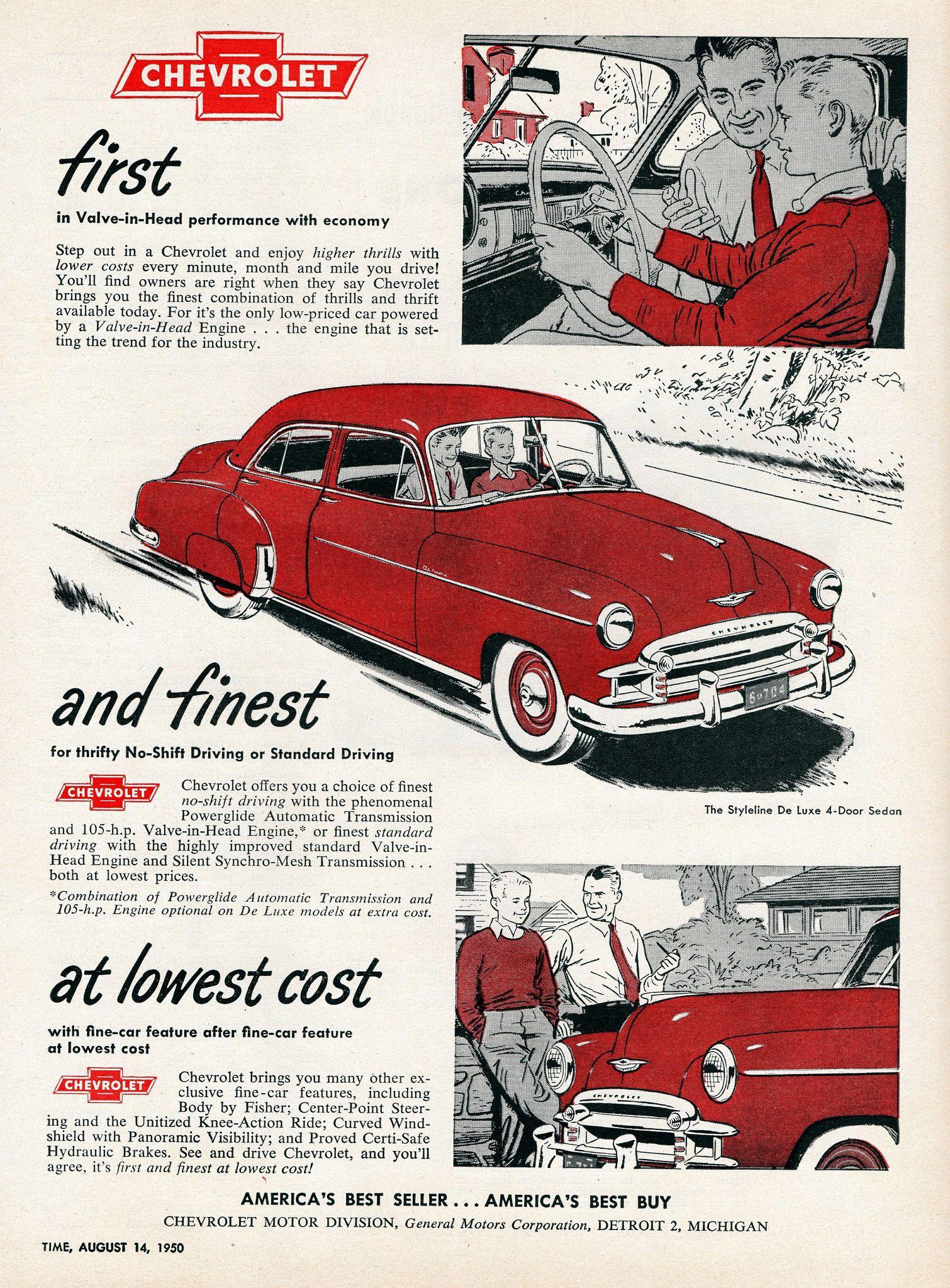 1950 Chevrolet Styleline De Luxe 4 Door Sedan Chevrolet Car Advertising Automobile Advertising