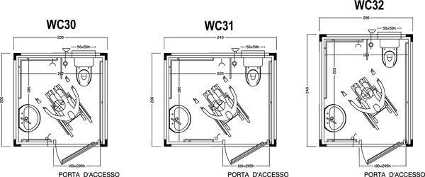 Wc prefabbricati per disabili tecnica pinterest for Arredo bagno per disabili