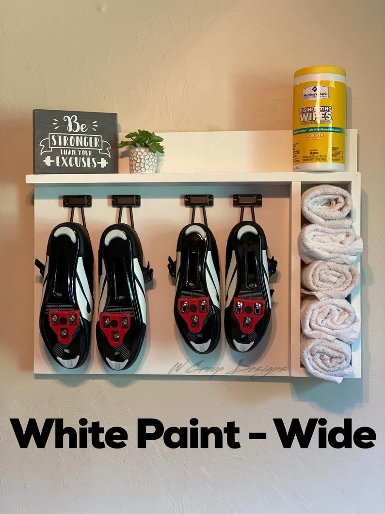 2 Pair Spin Bike Shoe Shelf Wide Organizer Etsy In 2020 Shoe Rack With Shelf Bike Shoes Shoe Shelf