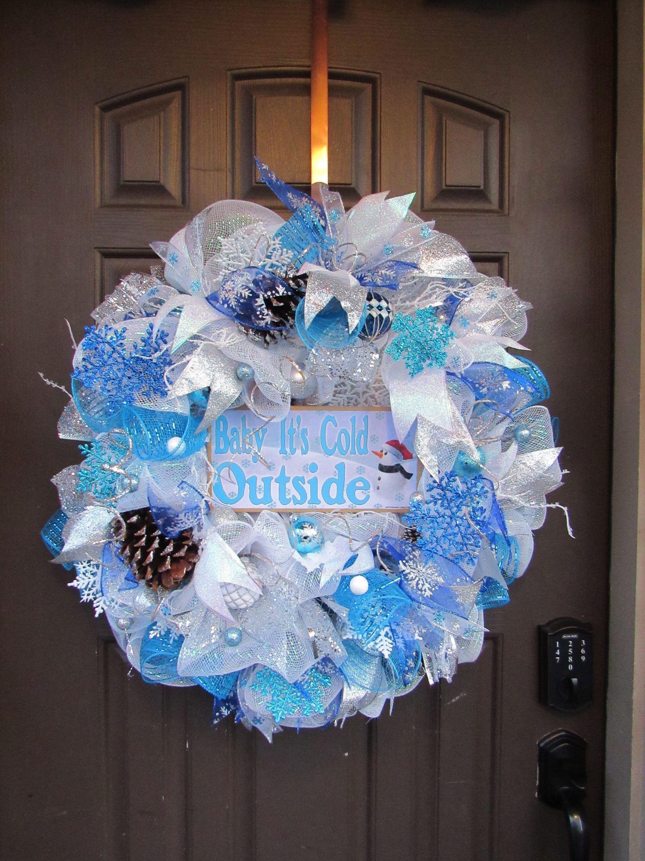 Blue snowflake decomesh wreath Blue winter decomesh wreath for front door Christmas snowflake wreath Winter snowflake wreath